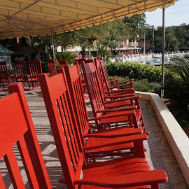 Red rockers by Debra Graham - City,  Street & Park  Historic Districts ( red rockers )