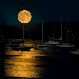Super Moon on the water by Mike Czosnek - Artistic Objects Other Objects ( reflection, moon, evenig, atlantic ocean, boats )