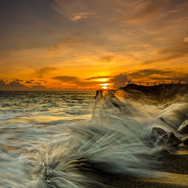 Sublime by Choky Ochtavian Watulingas - Landscapes Sunsets & Sunrises ( clouds, sands, water, splashing, sunset, waves, seascape, dusk, skies )
