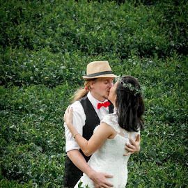 passionate kisse by Pierre Husson - Wedding Bride & Groom ( love, sweet kisse, cameron highland, wedding photography, tea plantation )