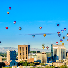 Boise City Hot Air Balloon festival by Charles Knowles - City,  Street & Park  Skylines ( skyline, boise, colorful, balloons, capital, city, lights, idaho, hot air, blue, buildings, city of trees, trees, festival, night, government, town )