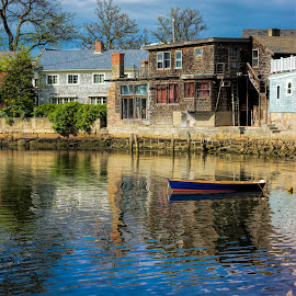 Back Harbor Rockport by David Stone - Buildings & Architecture Other Exteriors ( bearskin neck, water, blue sky, buildings, reflections, boat, rockport,  )