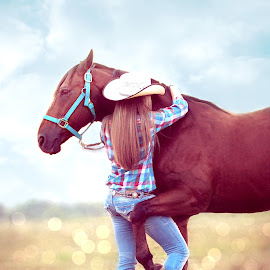 Love  by Shelby Hale - Animals Horses ( love, cowgirls, hugs, horses, horse love, horse hugs, people )