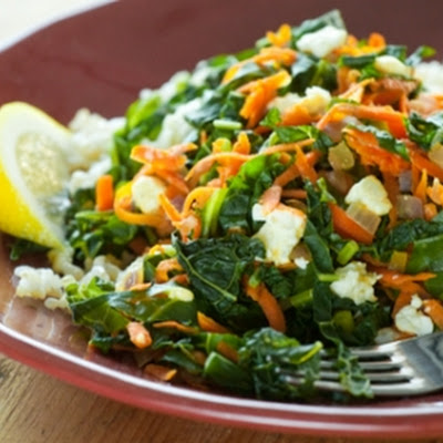 Greens with Carrots, Feta Cheese and Brown Rice