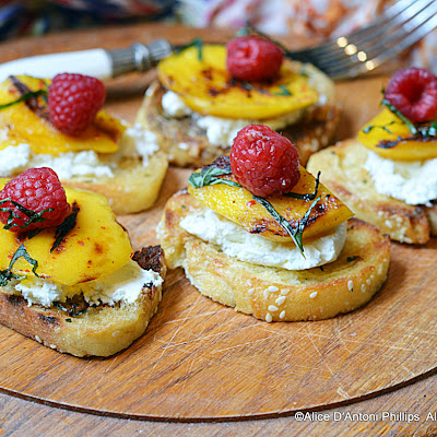 Grilled Mango & Raspberry Mint Crostini