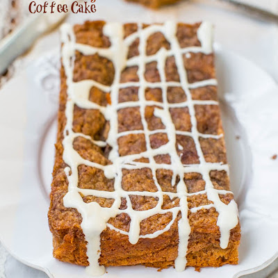 Brown Sugar-Topped Cinnamon-and-Sugar Coffee Cake with Vanilla Cream Cheese Glaze