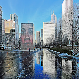 Millenium Park,Chicago by Dipali S - City,  Street & Park  City Parks ( winter, skyscrapers, snow, millenium park, buildings, reflections, chicago, downtown )