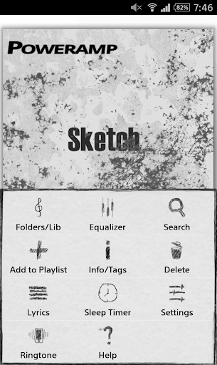 Poweramp Sketch Skin - screenshot