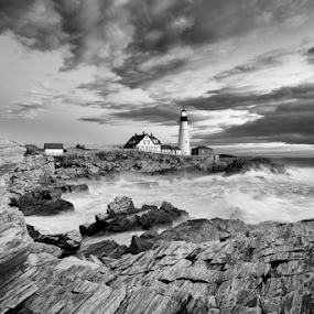 After the Storm by Tom Whitney - Black & White Landscapes ( black and white, rocky, sea, long exposure, portland head light, phl, storm, coast, b&w, landscape,  )