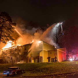 Sunflower Apartment Fire by John Messner - News & Events Disasters ( disaster, homeless, emergency, apartment fire, rescue, fire )