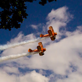 Bi-plane air display by Andy Dow - Sports & Fitness Other Sports ( flight, biplane, airplane, display, smoke )