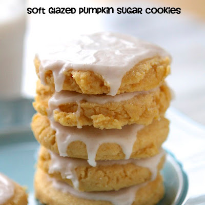 Soft Glazed Pumpkin Sugar Cookies