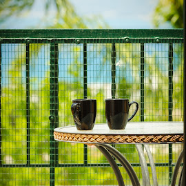 Holiday Memories by Steve Hayward - Artistic Objects Furniture ( railings, rhodes, scenery, coffee mugs, balcony )