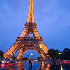 Eiffel Tower at dusk with reflections. by Gale Perry - Buildings & Architecture Statues & Monuments (  )
