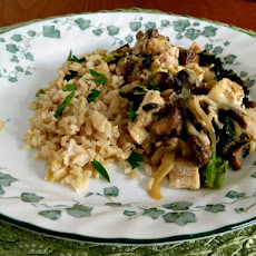 Chicken and Roasted Broccoli with Mushroom Sauce