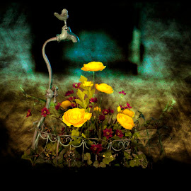 Floral Creation by Merna Nobile - Digital Art Things ( faucet planter floral )