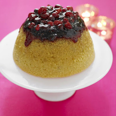 Cranberry-crowned Pud With White Chocolate Custard