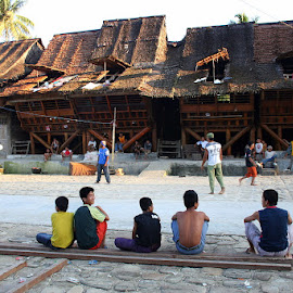 Traditional Village and Houses in Nias by Leong Jeam Wong - Sports & Fitness Other Sports ( roof, timber, village, traditional, attap, house, log, nias )