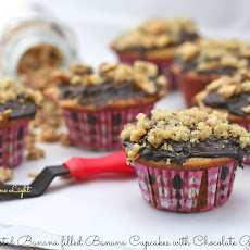 Roasted Banana Filled Banana Cupcakes with Chocolate Ganache