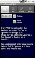 Screenshot of PhoneTax.eu Eire TaxCalc 2015