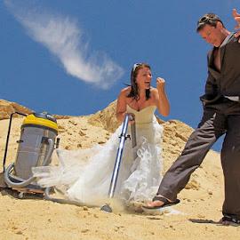 The Day after Wedding by Manu Schwingel - People Couples ( desert, wedding, wedding dress, fun, crash )