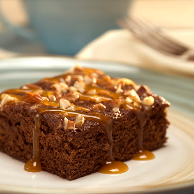 Luscious Caramel Topped Chocolate Snack Cake