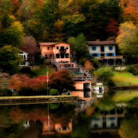 Lake Lure Lake Houses by Steven Faucette - Landscapes Waterscapes ( mountains, houses, fall, lake lure, north carolina )