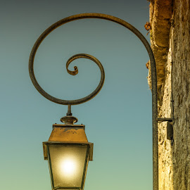 Farol by Javier Luces - City,  Street & Park  Street Scenes ( farol, old, post, sky, colors, street, lamp, bricks, travel )
