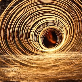 Steele Wool by Brenda Hooper - Abstract Fire & Fireworks ( lights, steel wool, fire,  )
