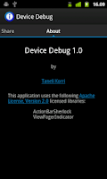 Screenshot of Device Debug