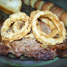 Grilled Rib-eyes and Fried Onion Rings