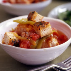 Chicken Sausage, Pepper and Onion Stoup with Tomato Basil Gobble-'Ems