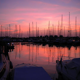Sunset in Torrevieja Marina by Helen Roberts - Landscapes Sunsets & Sunrises