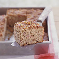 Rhubarb-Sour Cream Snack Cake with Walnut Streusel