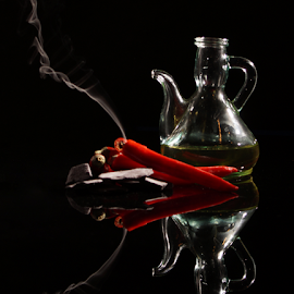 Hot chili oil by Veronika Gallova - Food & Drink Cooking & Baking ( #chili, #chili_oil, #red_chili, #burning_chili, #hot_chili,  )