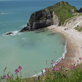 Opposite side of Durdle door. by Zsigmond Bujtor - Landscapes Beaches ( atlantic ocean, sea, summer, durdledoor, ocean, jurassic coast, beach, landscape, rocks, azure )