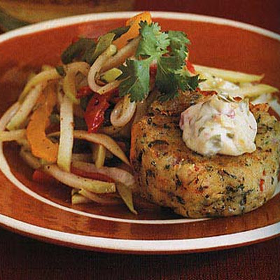 Shrimp and Sweet Potato Cakes with Chayote Slaw and Chipotle Sauce