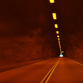 Tunnel Vision by David Knowles - Abstract Light Painting ( abstract, optical, mountain, vision, rock, travel, illusion, yellow, depth )