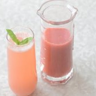 Strawberry-Rhubarb Bellini with Basil