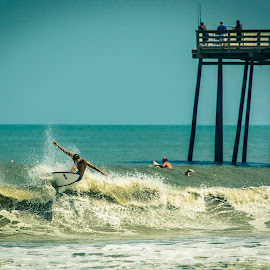 Surfing by Adrian Dillenseger - Sports & Fitness Surfing ( surfing, outer banks, pier, ocean, beach, surf, rodanthe nc, north carolina )