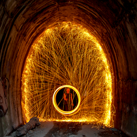 steel wool photography by Paul Sparrow - Abstract Light Painting ( steel wool photography, light painting, old railway tunnel, train )