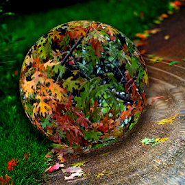 by Dipali S - Digital Art Abstract ( nature, autumn, ripples, foliage, fall, digital art, sphere, leaves )