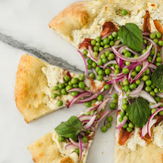 Ricotta Pizza with Prosciutto and Fresh Pea Salad