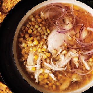 Chicken and Corn Soup with Chile-Mint Salsa