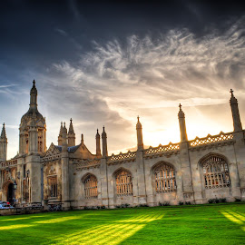 The drive in by Bobo Chuckleworth - Buildings & Architecture Statues & Monuments ( clouds, england, old, uk, university, sky, hdr, sunset, green, silhouette, college, cambridge )