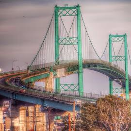 Bridge To San Pedro by Angela  H - Buildings & Architecture Bridges & Suspended Structures ( longbeach, hdr, california, bridge, vincent thomas bridge )