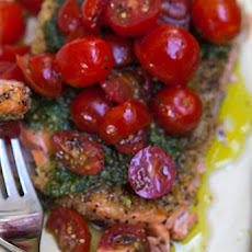 Wild Salmon Fillets With Basil Pesto & Sweet Cherry Tomatoes