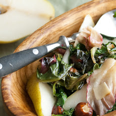Roasted Spring Greens with Hazelnuts and Pecorino
