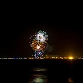 Australia Day Fireworks by Sandie Watson - City,  Street & Park  Skylines ( australia day, skyline, nght, fireworks, western australia )