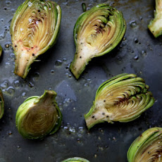 Roasted Baby Artichokes with a Lemon Cilantro Vinaigrette and shaved Parmesan